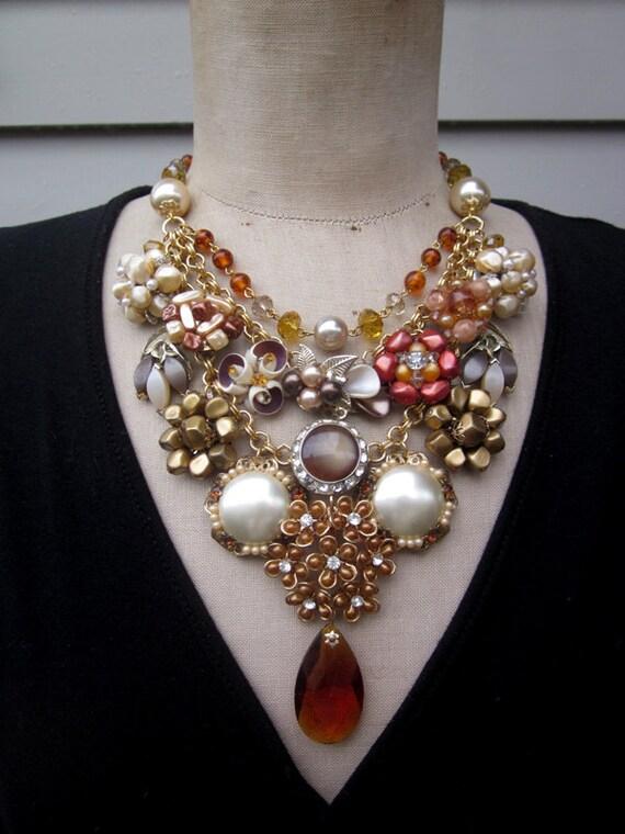 Vintage Necklace, Rhinestone Necklace, Statement Necklace - Amber