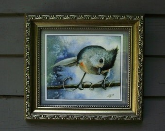 "Framed Print Titmouse Bird 8x9"" Art by Melody Lea Lamb Giclee"