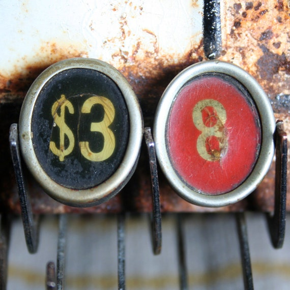2 Vintage OVAL Cash Register Key Number Dollar Cream Red Orange Black Jewelry Altered Art Mixed Media Steampunk
