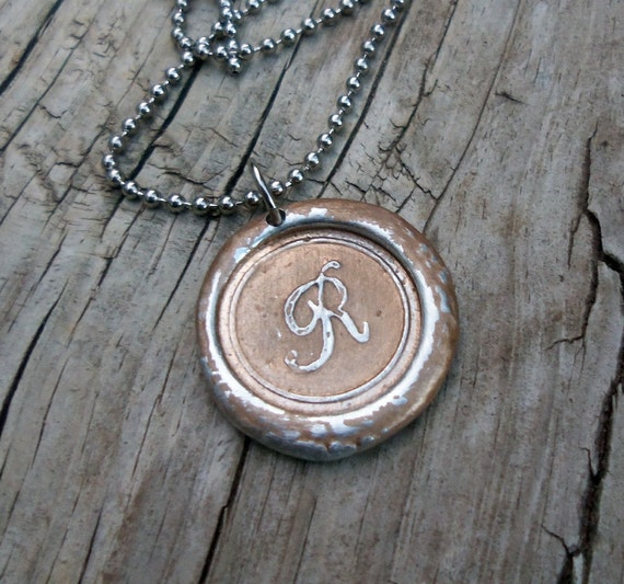 Custom Wax Seal Initial Necklace in Gold Dust