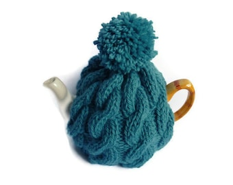 chunky cable tea cosy cosie knitting pattern pdf file