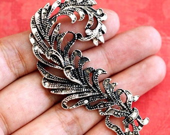 Lead free 1pcs Antique Silver Filigree Pendants AD-36334-AS-FF