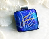 Sea Grass Blue Pendant Jewelry Necklace Dichroic Fused Glass 00993 - GetGlassy