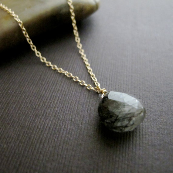 Toumalinated Quartz Necklace, 14k Gold Filled Chain Necklace, Black and Gold Necklace