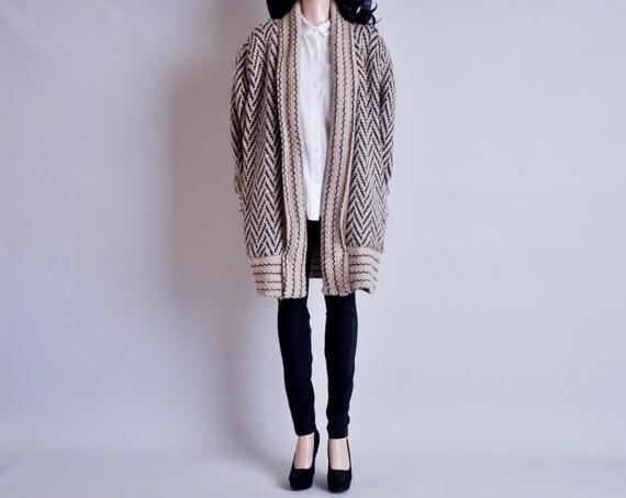 oversized tribal zig zag sweater coat / chunky knit / m / l