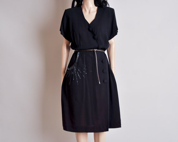 40s black crepe beaded asymmetric button dress / l