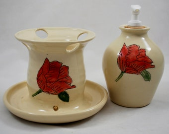 White Ceramic Bathroom Set with Red Flower, Wheel Thrown Clay