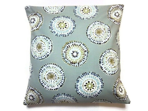 Two Aqua Turquoise Olive Cream Brown Blue Pillow Covers Modern Big Circle Design Toss Throw Accent Covers 16 inch