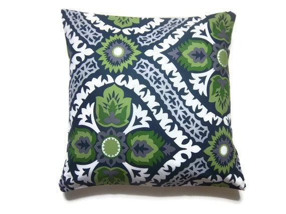 Decorative Pillow Cover Olive Green Navy Blue Chartreuse Gray