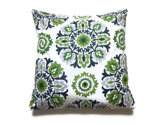 Decorative Pillow Cover Dark Green Navy Blue YellowGreen White