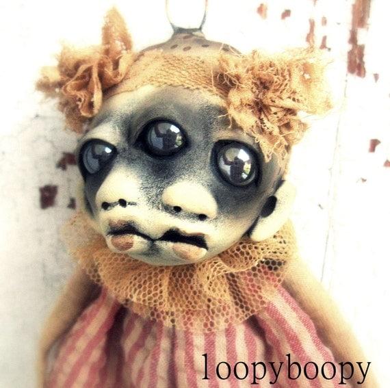 Weird Strange Baby OOAK Art Doll Halloween Ornament