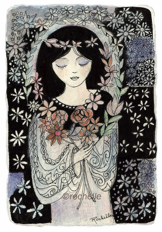 Girl with Flowers card