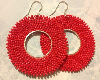 Red Hoop Earrings Seed Bead Hoops Beadwork Jewelry Beaded Earrings