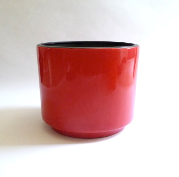 Vintage 1970s Red Ceramic Planter