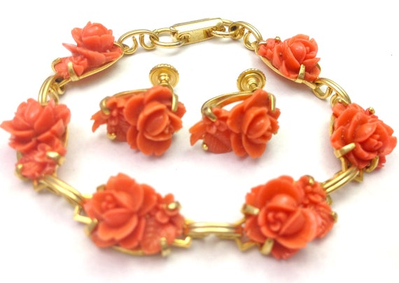 Vintage 40s Carved Celluloid Bracelet and Earrings