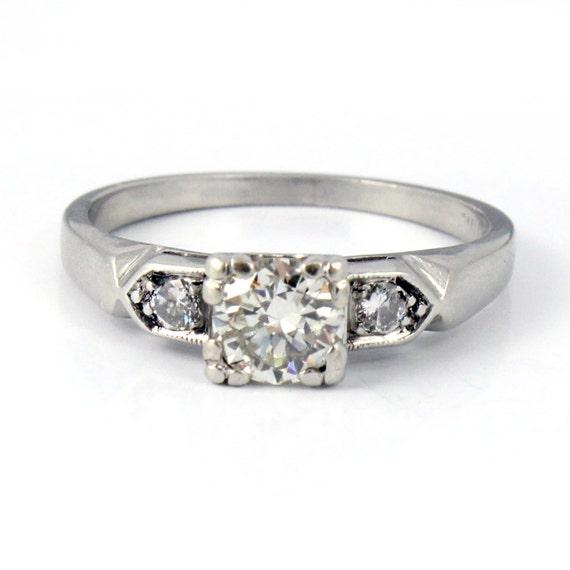 Platinum Vintage Retro Mid Century Antique Diamond Engagement Ring