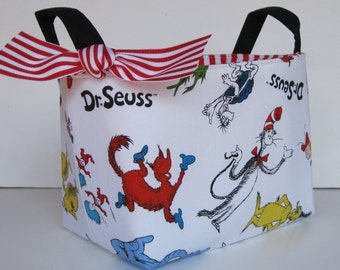 Storage Fabric Organizer  Bin Basket - Diaper Storage - Nursery Decor - White Cat in the Hat Fabric  - Made with Licensed Dr. Seuss Fabric