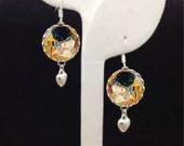 The Kiss by Klimt Solid Sterling Silver Bubble Charm Earrings