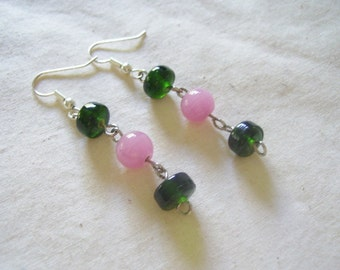SALE Green and Pink Dangle Earrings