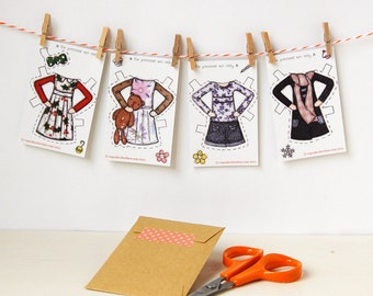 Clara Paper Doll Clothes - Dress-Up Clothes - Single Outfit Cards, Set B - Paper Toy