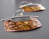 Mezzaluna - Copper and Sterling Silver Blade Earrings - Hammered and Shiny