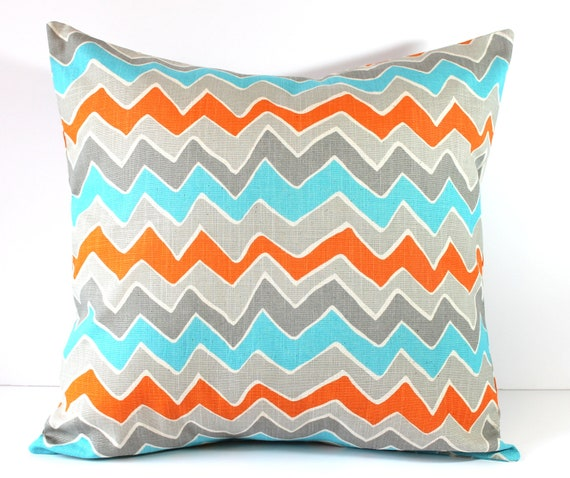 decorative pillow cover orange turquoise gray seesaw chevron. Black Bedroom Furniture Sets. Home Design Ideas