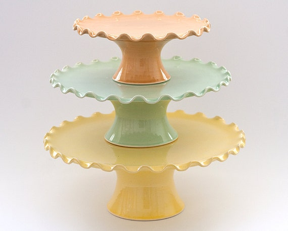"""MADE TO ORDER - Cake Stand Tier Set - Large 12"""" Medium 10"""" and Small 7"""" - Ruffle Stands - Citrus Colors"""