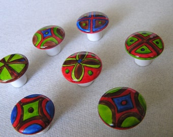 SEVEN just a touch of chocolate handpainted porcelain knobs