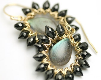 Labradorite Earrings. Black Spinel Framed Labradorite.