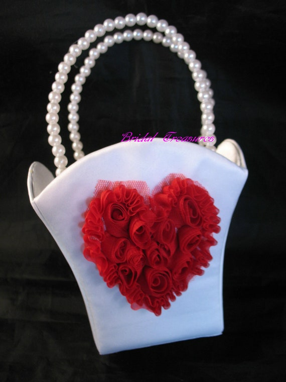WHITE Satin Flower Girl Basket with Red Organza Flowered Heart-CUSTOM COLORS