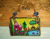 50% off Original Art Pendant Necklace Hand Drawn Lake Retreat in Handmade Vintage Raw Brass Frame Naive Art