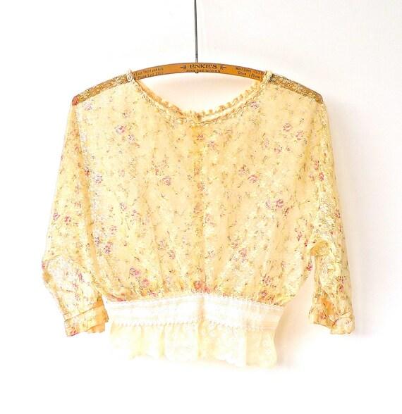 Vintage Altered Antique Sheer Lace Blouse
