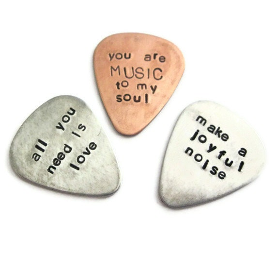 guitar picks with free leather case - any THREE customized / personalized handstamped