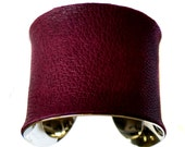 Silver Lined Cuff Bracelet in Maroon Lambskin Leather  - by UNEARTHED