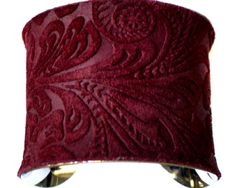 Leather Cuff Bracelet in Oxblood Embossed Floral Suede  - by UNEARTHED