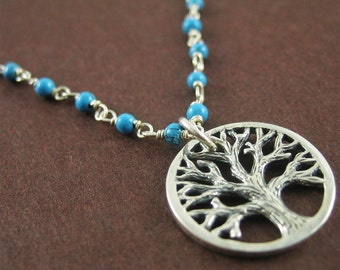 Sterling Silver Tree of Life Necklace Gifts for Mom Turquoise Gemstone Nature Necklace Modern Jewelry