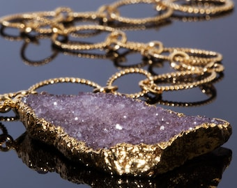 Russian Amethyst Gemstone Necklace Gold Chain Anniversary February Birthday Gift for Women