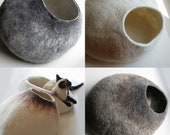 Custom felted Cat Bed - Hand Felted Wool Cat Bed / Vessel - Crisp Contemporary Design