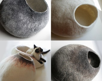ASK for Custom felted Cat Bed - Hand Felted Wool Cat Bed / Vessel - Crisp Contemporary Design