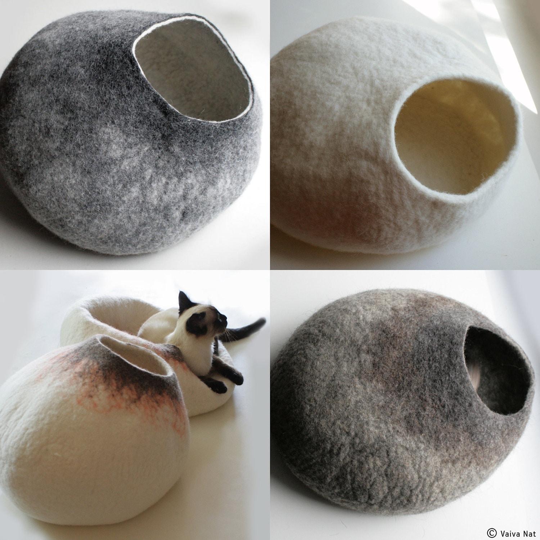 Ask for custom felted cat bed hand felted wool cat bed for Designer cat beds uk