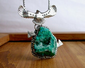 Druzy Gem Silica Chrysocolla Sterling Silver Necklace