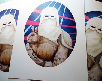 Digital PRINT Star Wars Snow Trooper with Bunny Rabbit
