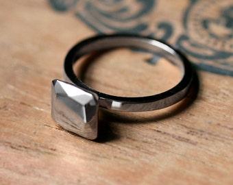 White gold engagement ring, modern engagement ring, non diamond engagement ring, Asscher cut ring, ascher cut faceted metal gem, custom made