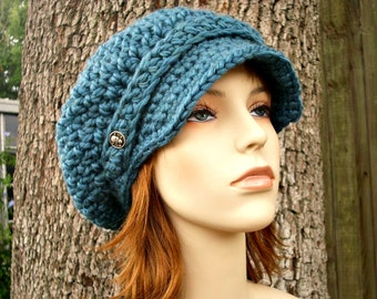 Crochet Hat Teal Blue Womens Hat Teal Blue Newsboy Hat - Crochet Newsboy Hat in Teal Blue Crochet Hat - Blue Hat Womens Accessories