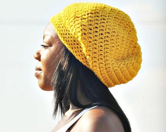 Yellow Womens Hat Slouchy Beanie - Weekender Slouchy Hat in Gold Yellow Crochet Hat - Yellow Hat Yellow Beanie Womens Accessories Winter Hat