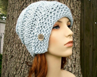 Knit Hat Womens Hat - Hybrid Swirl Cloche Hat in Glacier Blue Knit Hat - Blue Hat Blue Cloche Womens Accessories Winter Hat