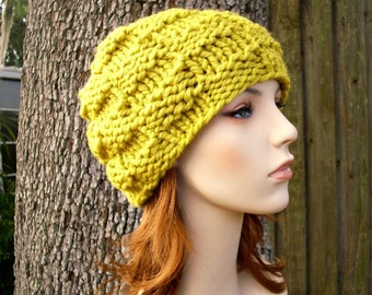 Knit Hat Yellow Womens Hat Mens Hat - Basket Weave Beanie in Citron Yellow Knit Hat - Yellow Hat Yellow Beanie Womens Accessories Winter Hat