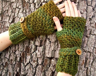 Crocheted Fingerless Gloves Mittens - Green Fingerless Gloves in Ozark Forest Green - Green Gloves Green Mittens Womens Accessories