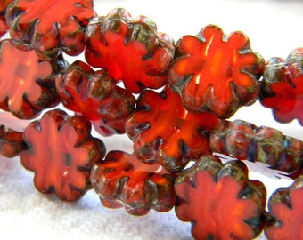 Blood Orange Blooms (10) -Czech Glass Daisy Flowers 9mm