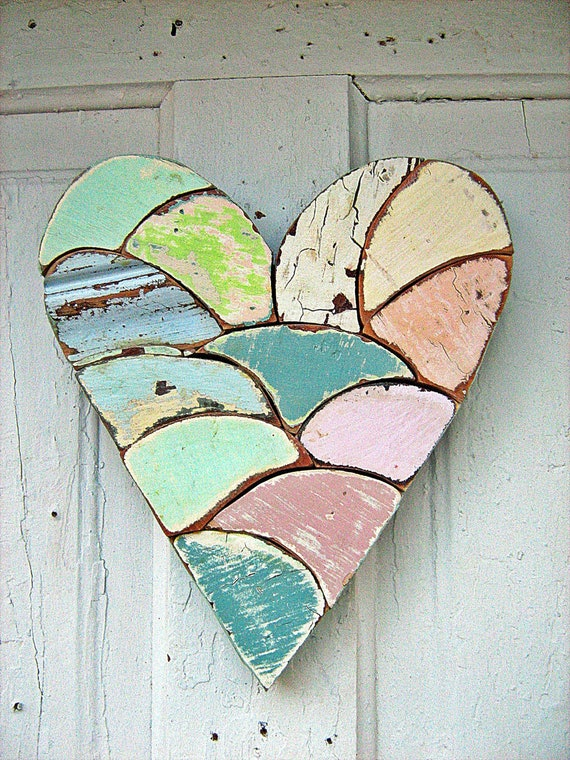 Mosaic Heart Made From Reclaimed Wood Pink Blue Green